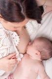 Молоковыведение newborn, newborn кормить грудью Стоковое Изображение
