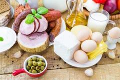 Молокозавод мяса продуктов бакалеи разнообразия состава Стоковое Фото