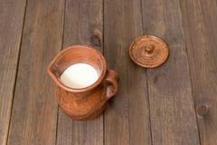 Молоко в кувшине глины Стоковая Фотография