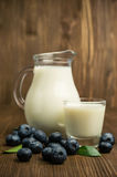 Молоко в стеклянных кувшине и голубиках Стоковое Изображение RF