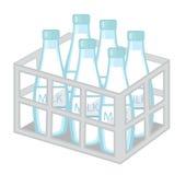 Молоко в стиле железного значка коробки плоском белизна изолированная предпосылкой также вектор иллюстрации притяжки corel Стоковая Фотография
