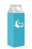 Молоко в стиле значка коробки плоском белизна изолированная предпосылкой также вектор иллюстрации притяжки corel Стоковые Фото