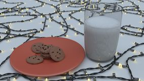 Молоко и печенья на красной плите Стоковое Фото
