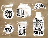 Молоко символический рисуя kraft иллюстрация вектора