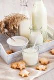 молоко стекла печений Стоковые Фото