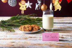 молоко santa печений Стоковая Фотография RF