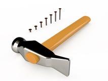 Молоток и ногти Иллюстрация вектора