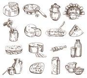 Молочные продукты vector комплект иллюстрация вектора