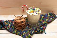 Молочный коктейль с красочными конфетами и печеньями Стоковые Фотографии RF
