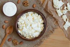 Молочный продучт домодельного творога здоровый с Стоковое Фото