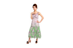 Молодая азиатская женщина в платье Стоковое Изображение RF