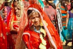 Молодая дама в индийских чувствах костюма самостоятельно Стоковая Фотография RF
