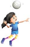 Молодая дама играя волейбол Стоковое Изображение RF
