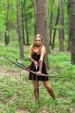 Молодая дама эльф с длинным смычком Стоковые Фото