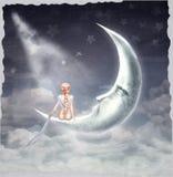 Молодая белокурая девушка сидя на луне иллюстрация вектора