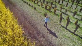 Молодая белокурая женщина идя с джинсами через поле сток-видео