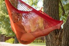 Молодая белокурая женщина отдыхая на гамаке стоковая фотография rf