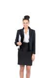Молодая бизнес-леди держит файл стоковое изображение rf