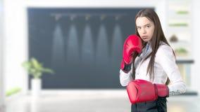Молодая бизнес-леди над внутренней предпосылкой Стоковое Изображение RF