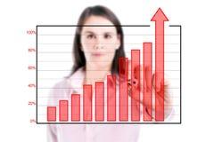 Молодая бизнес-леди писать над диаграммой в виде вертикальных полос достижения, изолированной предпосылкой. стоковое фото