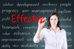 Молодая бизнес-леди писать эффективную концепцию background card congratulation invitation Стоковые Фото