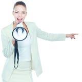 Молодая бизнес-леди при мегафон изолированный на белой предпосылке Стоковые Изображения RF