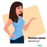 Молодая бизнес-леди шаржа в стиле офиса одевает показывать что-то Стоковые Фотографии RF