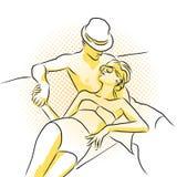 Молодая богатая пара принимает sunbath на шлюпке Покрашенное художественное произведение Стоковое фото RF