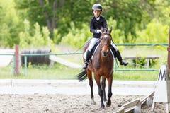Молодая верховая лошадь девочка-подростка на dressage Стоковая Фотография RF