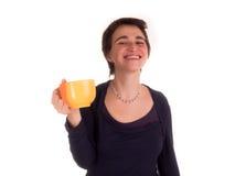 Молодая взрослая женщина с короткими волосами, на белой предпосылке в различных представлениях, и различные выражения лица Не изо Стоковое фото RF
