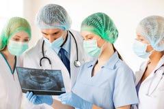 Молодая группа в составе доктора смотря рентгеновский снимок Стоковое Фото