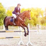 Молодая девушка всадника скача над oxer на скакать выставки Стоковое Изображение