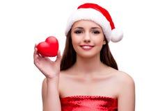 Молодая девушка santa в концепции рождества изолированная на белизне Стоковое Изображение