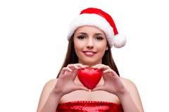 Молодая девушка santa в концепции рождества изолированная на белизне Стоковое Изображение RF
