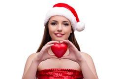 Молодая девушка santa в концепции рождества изолированная на белизне Стоковые Изображения