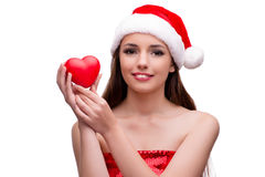 Молодая девушка santa в концепции рождества изолированная на белизне Стоковые Фото
