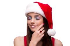 Молодая девушка santa в концепции рождества изолированная на белизне Стоковые Изображения RF