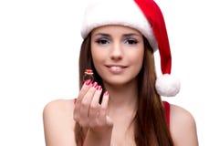 Молодая девушка santa в концепции рождества изолированная на белизне Стоковое фото RF