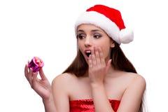 Молодая девушка santa в концепции рождества изолированная на белизне Стоковая Фотография RF