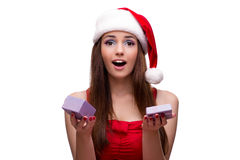 Молодая девушка santa в концепции рождества на белизне Стоковые Фотографии RF