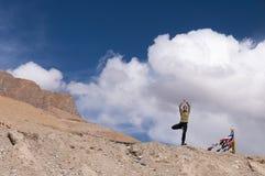 Молодая женская практикуя позиция Vrksasana дерева йоги в горах Стоковое Фото