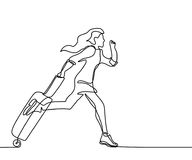 Молодая женщина бежать с чемоданом иллюстрация штока
