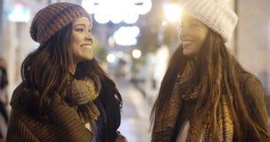 Молодая женщина 2 беседуя outdoors в зиме Стоковые Фотографии RF