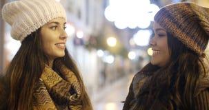 Молодая женщина 2 беседуя outdoors в зиме Стоковые Фото