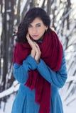 Молодая женщина брюнет одела в красном шарфе и голубом пальто Стоковые Фотографии RF