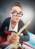 Молодая женщина выполняя обработку документов Стоковые Изображения RF