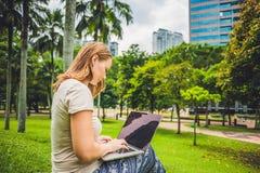 Молодая женщина в вскользь платье используя компьтер-книжку в тропическом парке на предпосылке небоскребов компьтер-книжка чашки  Стоковые Фотографии RF