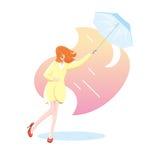 Молодая женщина в желтом пальто при голубой зонтик, который подвергли действию к дождю Иллюстрация штока