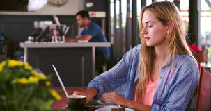Молодая женщина в кафе работая на компьтер-книжке сток-видео