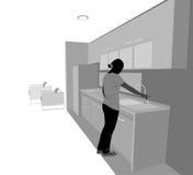 Молодая женщина в комнате кухни бесплатная иллюстрация